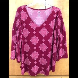 EVRI Women Plus Size 1X Top Blouse Red bell sleeve